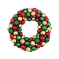 DAK Unlit Red Green & Gold Shatterproof Christmas Ball Ornament Wreath