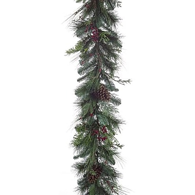 Allstate 72in.(L) x 12in.(W) Unlit Pine Cone Berry Artificial Christmas Garland, Green/Red