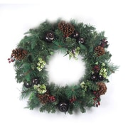 CC Christmas Decor Unlit Pre-Decorated Red Berry, Pine Cone, Apple Artificial Christmas Wreath