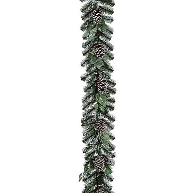Allstate 72in.(L) x 12in.(W) Unlit Artificial Flocked Pine Cone and Eucalyptus Christmas Garland, Green
