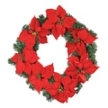 LB International Pre-Lit LED Red Artificial Poinsettia Christmas Wreath, Clear Light