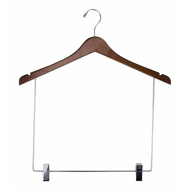 Wood Concave Display Hanger With 10in. Drop, Chrome Hook, Walnut, 17in.