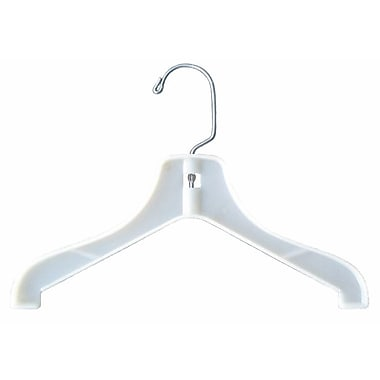 Plastic Hi-Impact Super Heavy Weight Coat Hanger, White, 12in.