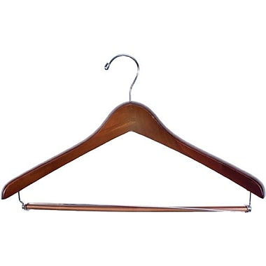 Wood Extra Thick Concave Suit Hanger, Chrome Hook, Walnut