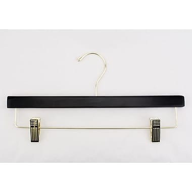 Wood Flat Skirt/Slack Hanger, Gold Hook, Black, 14in.