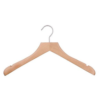 Wood Concave Jacket Hanger, Brushed Chrome Hook, Low Gloss Natural, 17in.