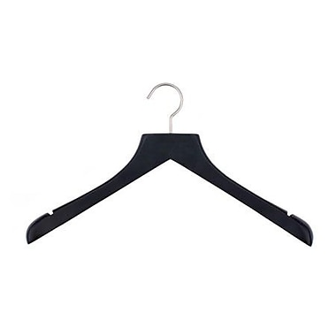 Wood Concave Jacket Hanger, Brushed Chrome Hook, Low Gloss Black, 17