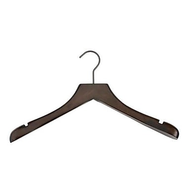 Wood Concave Jacket Hanger, Gunmetal Hook, Low Gloss Espresso, 17