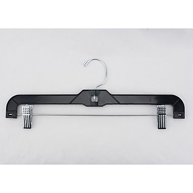 Plastic Shiny Heavy Weight Skirt/Slack Hanger With Metal Clips, Black
