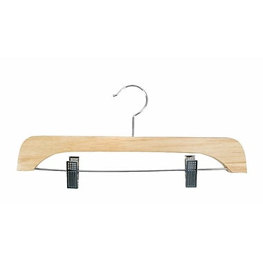 Wood Flat Skirt/Slack Hanger, Chrome Hook, Natural Lacquered, 14in.