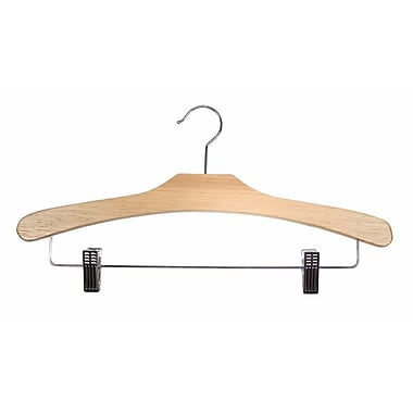 Wood Flat Suit Hanger, Chrome Hook, Natural Lacquered, 16 1/2in.