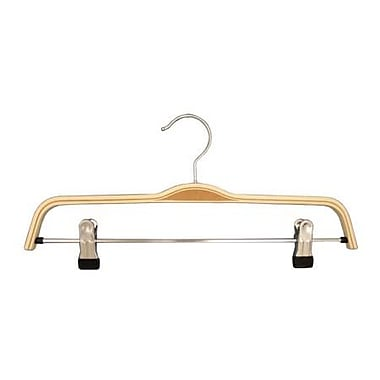 Bentwood Bottom Hanger With Rubber-Tipped Clips, Natural, 15 in.
