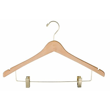 Wood Ladies' Suit Hanger, Gold Hook, Natural, 17