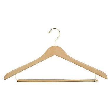 Wood Concave Suit Hanger, Gold Hook, Natural, 19