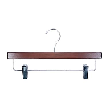 Wood Skirt/Slack Hanger, Chrome Hook, Walnut, 14in.