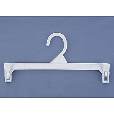 Plastic Skirt/Slack Hanger With Pinch Clip, White, 11 1/2in.