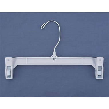 9 1/2in. Plastic Skirt/Slack Hanger With Pinch Clip, Swivel Hook, White