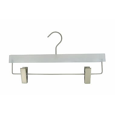 Plastic Flat Frosted Display Pant Hanger, Chrome Hook, 14