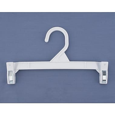 9 1/2in. Plastic Skirt/Slack Hanger With Pinch Clip, Plastic Hook, White