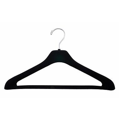 Concave Flocked Elegant Suit Hanger, Chrome Hook