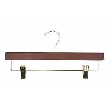 Wood Ladies' Flat Skirt/Slack Hanger, Gold Hook, Walnut, 14in.
