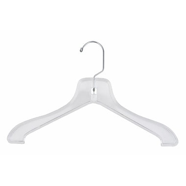 14in. Plastic Super Heavy Weight Coat Hanger, Chrome Hook, Clear