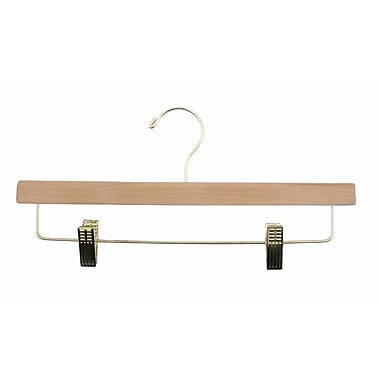 Wood Flat Skirt/Slack Hanger, Gold Hook, Natural Lacquered, 14in.