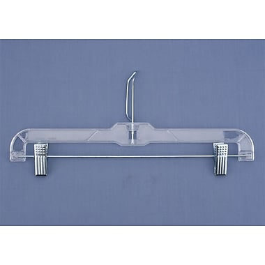 Plastic Skirt/Slack Hanger With Coordinate Attachment and Metal Clips, Clear