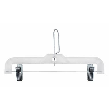 Plastic Skirt/Slack Hanger With Coordinate Attachment and Metal Clips, Clear, 12in.