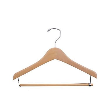 Wood Concave Wood Suit Hanger, Chrome Hook, Natural Waxed, 14in.