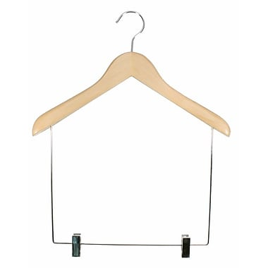Wood Concave Flared Shaper Display Hanger, Chrome Hook, Natural, 17in.