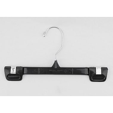 Plastic Snap Grip Skirt/Slack Hanger, Chrome Hook, Black, 10in.
