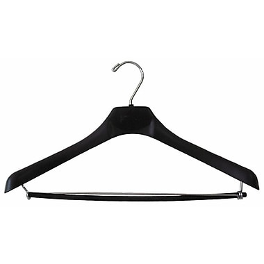 18in. Plastic Concave Wide Shouldered Suit Hanger, Chrome Hook, Black