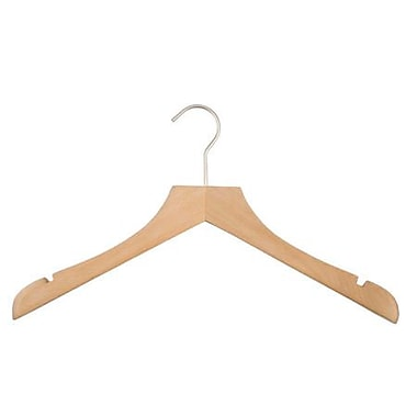 Wood Concave Jacket Hanger, Brushed Chrome Hook, Beech, 17in.