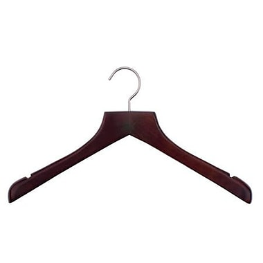 Wood Concave Jacket Hanger, Brushed Chrome Hook, Low Gloss Mahogany, 17