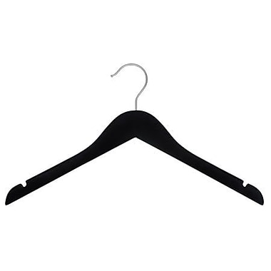 Rubber Coated Wood Flat Top Hanger, Brushed Chrome Hook, Black, 17in.