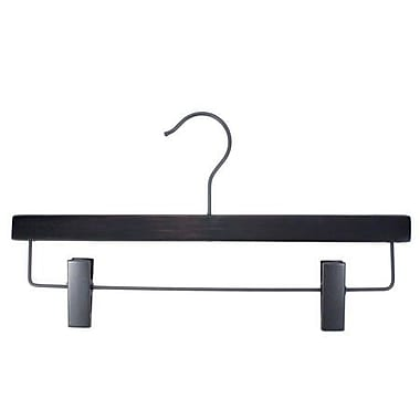 Flat Wood Skirt/Slack Hanger With Clips, Gunmetal Hook, Low Gloss Espresso, 14in.