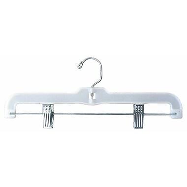 Plastic Hi-Impact Jumbo Weight Skirt/Slack Hanger With Metal Clips, White