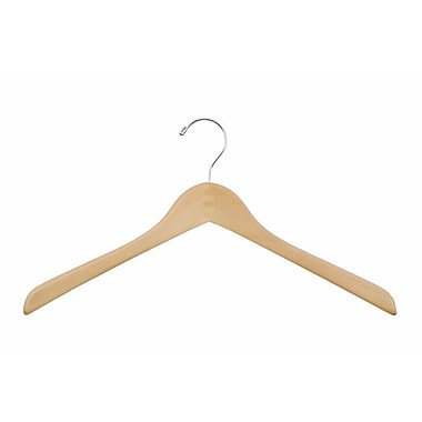 Wood Concave Jacket Hanger, Chrome Hook, Natural, 15 1/2