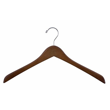 Wood Concave Jacket Hanger, Chrome Hook, Walnut, 17in.