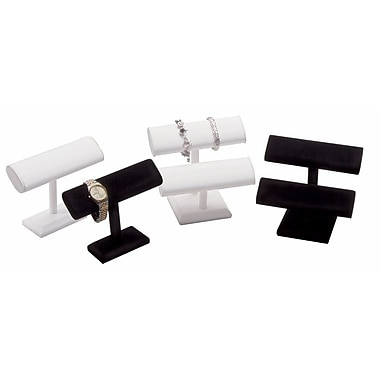Leatherette Double T-Bar Display, White