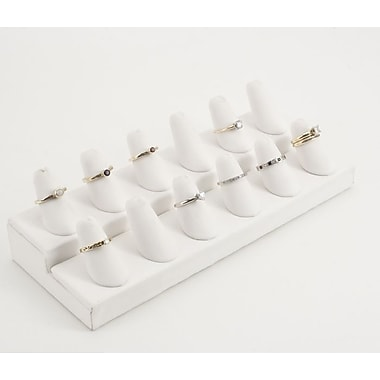 Velvet 12 Finger Ring Display, White
