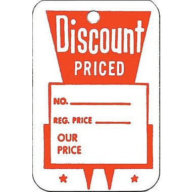 Small Unstrung Discount Priced Tag, Red/White, 1 1/4