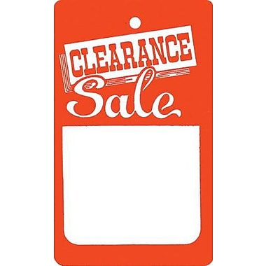 Small Strung Clearance Tag, Red/White, 1 3/4in. x 2 7/8in.