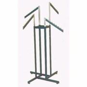4 Way Rectangular Tubing Garment Rack With 4 - 18 Slant Arms, Black