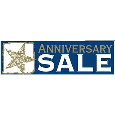 8' x 3' Outdoor Banner in.ANNIVERSARY SALEin., Blue/White/Gold