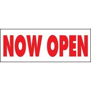 "8' x 3' Outdoor Banner ""NOW OPEN"", Red/White"