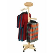 2 Way Solid Wood Clothing Rack With 1 Straight out and 1 Waterfall, Maple