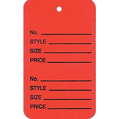 Unstrung Vertical Coupon Tag, Red, 1 3/8