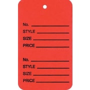 Strung Vertical Coupon Tag, Red, 1 3/8 x 2 3/4